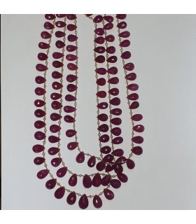 Ruby Faceted Drop Necklace (3 Strands).-Item.11577