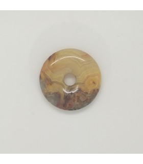 Crazy Agate Circular Smooth Pendant 30mm.-Item.11633