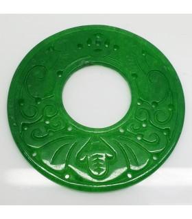 Green Jade Carved Pendant 58mm.-Item.1180JV