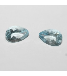 1 Pair Aquamarine Faceted Drop 9x6mm ( 2.27 ct.).- Item: 064LO