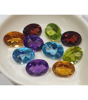 Mix Gemstone Lot Faceted Oval 8x6 mm. (10 pcs.).- Item: 932CB