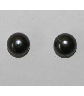 Perla Cultivada Pendiente Gris 11-12mm.-6 Pares.-Ref-5033