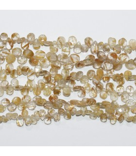 Rutilated Quartz Faceted Round Beads 7-8mm.-Strand 23cm.-Item.11817