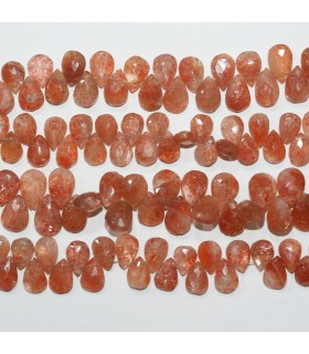 Sunstone Faceted Drop 10x7 mm. Approx.-Strand 21cm.-Item.11839