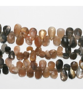 Multicolor Moonstone Faceted Drop 11x7mm.Approx.- Strand 22cm.-Item.11836