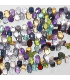 Multi Stone Faceted Drop Beads 9x6mm.-Strand 20cm.-Item.11831