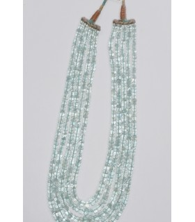 Aquamarine Graduated Faceted Rondelle Necklace (5 Rows) 9x5- 5x3mm.- Item.11856