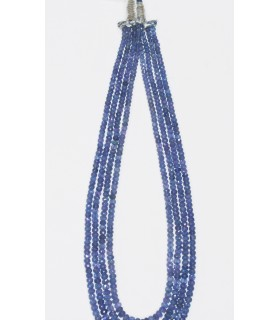 Tanzanite Graduated Faceted Rondelle Necklace (6 Rows) 6x4- 4x2mm.-Item.11858