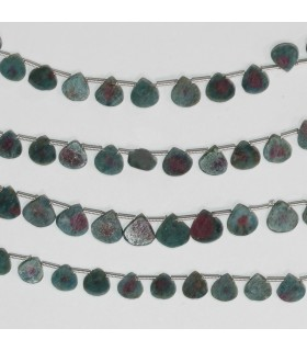 Ruby Fuchsite Smooth Flat Drop Beads 7mm.-Strand 21cm.-Item.11805