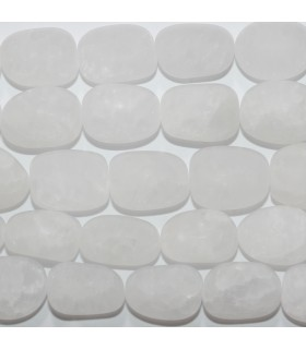 Rock Crystal Quartz Matte Finish Smooth Nugget 20x15mm.-Strand 39cm.-Item.11735
