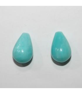 Amazonite Half Drilled Smooth Drop 15x10mm. ( 1 Pair )- Item.11910