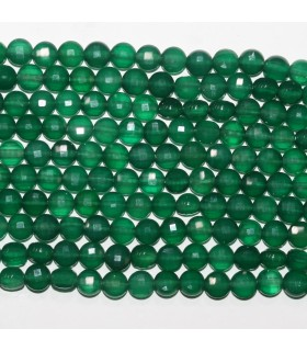Green Onyx Faceted Coin 6mm.-Strand 39cm.-Item.11699