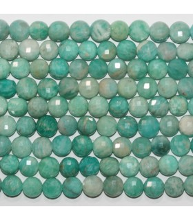 Amazonite Faceted Coin 7-8mm.-Strand 39cm.-Item.11703