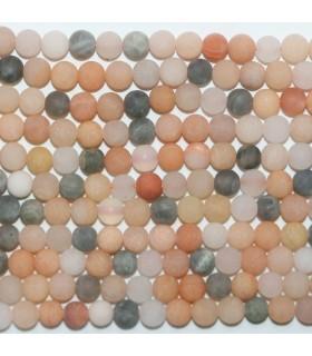 Multicolor Moonstone Matte Finish Round Beads 6mm.- Strand 39cm.-Item.11726