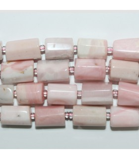 Pink Opal Faceted Tube 13x10mm.Approx.-Strand 39cm.- Item.11727