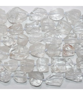 Rock Crystal Quartz Faceted Nugget Irregular Polish 12x14- 34x30mm.Approx- Strand 43cm.- Item.11734