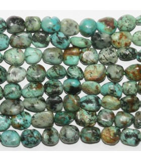 African Turquoise Smooth Nugget 10-12mm.- Strand 39cm.- Item.11752