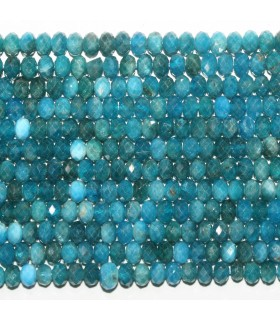 Blue Apatite Faceted Rondelle 6x4mm.- Strand 39cm.- Item.11757