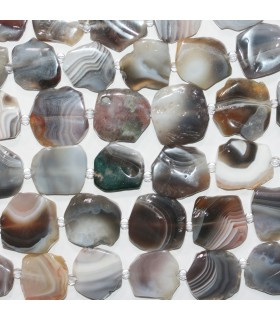 Botswana Agate Smooth Flat Nugget 20-22mm.-Strand 40cm.- Item.11759