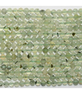 Prehnite Faceted Round Beads 5-6mm.- Strand 39cm.- Item.11767