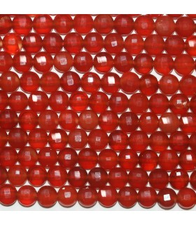 Carnelian Faceted Coin 6mm.- Strand 39cm.- Item.11768