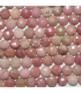 Rhodonite Faceted Coin 6-7mm.- Strand 39cm.- Item.11769
