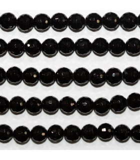 Black Turmaline Faceted Round Beads 5.5-6mm.- Strand 39cm.- Item.11785