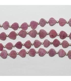 Pink Sapphire Smooth Flat Drop 6mm.-Strand 21cm.- Item.11883