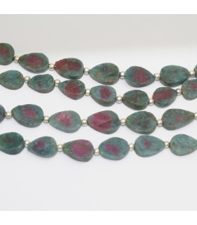 Ruby Zoisite Smooth Flat Drop 9x7mm.- Strand 21cm.- Item.11885