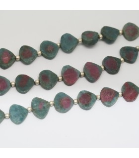 Ruby Zoisite Smooth Flat Drop 8-9mm.- Strand 21cm.- Item.11886