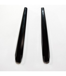 Onyx Half Drilled Faceted Drop 60x8mm. (1 Pair).-Item.11939