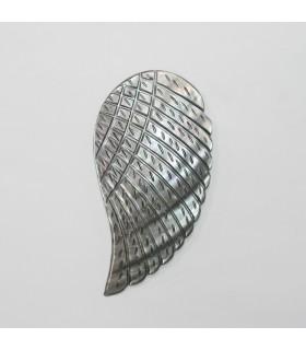 Gray MOP Leaf Pendant 85x42mm.- Item.11895