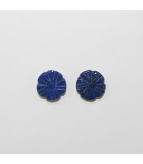 Lapis Lazuli Carved Flower Connector 12mm. (1 Pair).- Item.11941