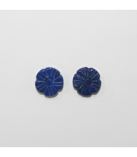 Lapis Lazuli Flor Tallada Entrepieza 12mm. (1 Par).- Ref.11941