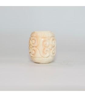 Natural Pink Shell Carved Barrel Pendant 16x12mm.- Item.11903