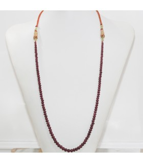 Ruby Graduated Smooth Rondelle Necklace 4x3-7x6mm.- Item.11965