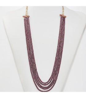 Ruby Graduated Smooth Rondelle Necklace 3x2-4x3mm. (5 Strands).- Item.11958