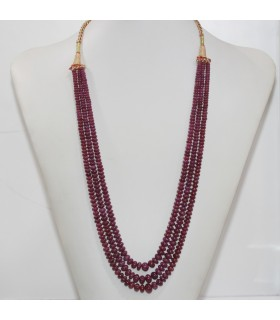 Ruby Graduated Smooth Rondelle Necklace 4x2-9x7mm. (3 Strands).- Item.11957