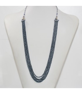 Sapphire Faceted Rondelle Necklace 2x1-3x2mm. (5 Strands).- Item.11959