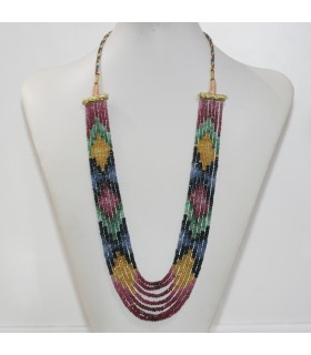 Ruby-Sapphire-Esmerald Graduated Faceted Rondelle Necklace 3x1.5- 3.5x2mm. (7 Strands).- Item.11960