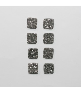 Silver Druzzy Agate Square Cabochon 9mm. (8 Pieces).- Item.1298CB