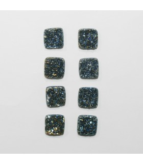 Blue-Gold Druzzy Agate Square Cabochon 9mm. (8 Pieces).- Item.1300CB
