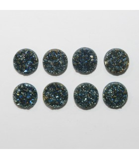 Blue-Gold Druzzy Agate Round Cabochon 9mm. (8 Pieces).- Item.1301CB