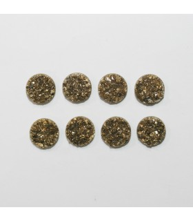 Gold Druzzy Agate Round Cabochon 10mm. (8 Pieces).- 1302CB
