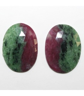 Pair of Ruby Zoisite Faceted Oval Cabochon 28x20mm.Approx. (50.10 ct.).- Item.288PE