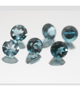 Lot of London Blue Topaz Faceted Round 5mm. (6 Pcs.).- Item.69MG