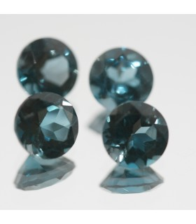 Lot of London Blue Topaz Faceted Round 6mm. (4 Pcs.).- Item.70MG