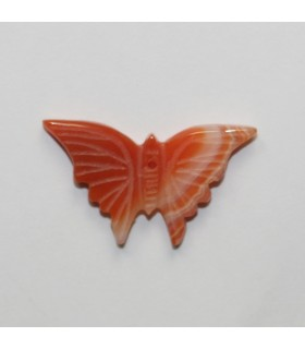 Orange Agate Carved Butterfly Pendant 16x26mm.Approx.- Item.11978