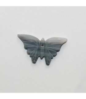Grey Agate Carved Butterfly Pendant 16x26mm.Approx.- Item.11979