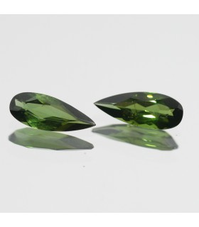 Pair Green Turmaline Faceted Drop 10x4mm.-Item.166MG